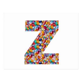 Jewel Stone Studded Alpha ZZZ z ZZ  Birthday Gifts Postcard