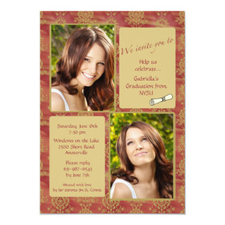 Jewel-tone Photo Graduation Invitation
