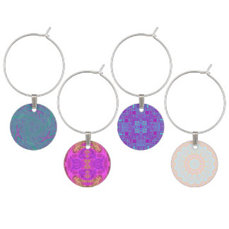 Jewel Tone Spiral Wine Charms