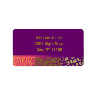 Jewel Tones Animal Patterns Address Label
