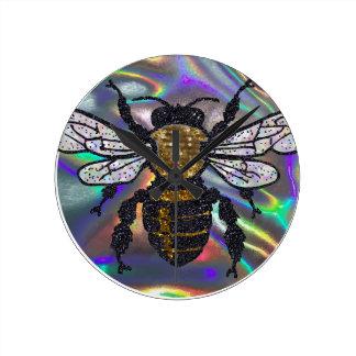 jeweled bee round clock