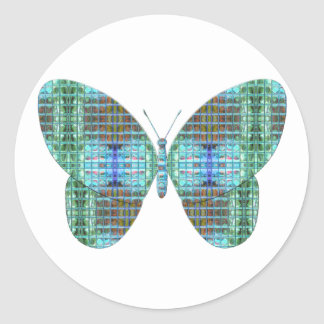 Jeweled Butterfly glass effect Round Sticker