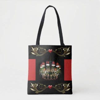 Jeweled Chandelier Red Hearts and Gold Tote Bag