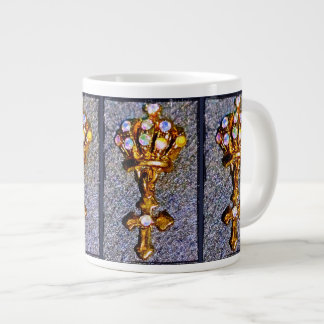 Jeweled Crown and Cross Large Coffee Mug