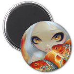 """Jeweled Fish:  Silver and Gold"" Magnet"