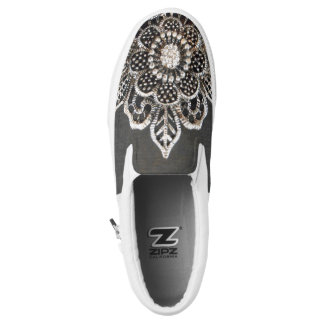 Jeweled Flower Slip-On Sneakers