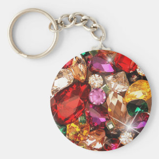 Jeweled Jewels Sparkle Gems Color Basic Round Button Key Ring