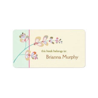Jeweled Leaves Bookplate Labels