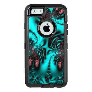 Jeweled Look of Teal Blue Fractal OtterBox Defender iPhone Case