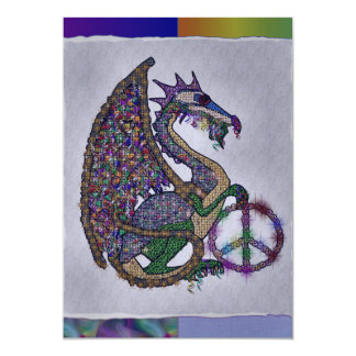 Jeweled Peace Dragon 13 Cm X 18 Cm Invitation Card
