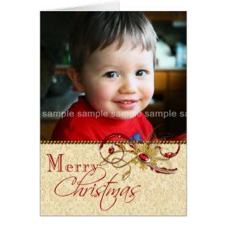 Jeweled Swirls and Damask Photo Christmas Card