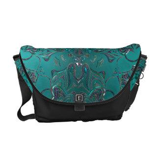 Jeweled Teal Mandala On Black Messenger Bag