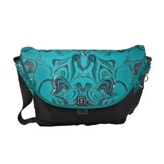 Jeweled Teal Mandala On Black Messenger Bags