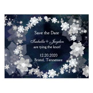 Jeweled Winter Wedding Wreath Save the Date Postcard