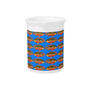 JewelfishPattern in sea blue Pitcher