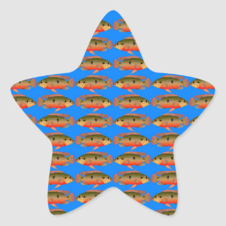 JewelfishPattern in sea blue Star Sticker