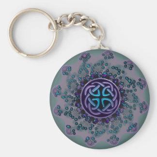 Jewelled Celtic Fractal Mandala Basic Round Button Key Ring