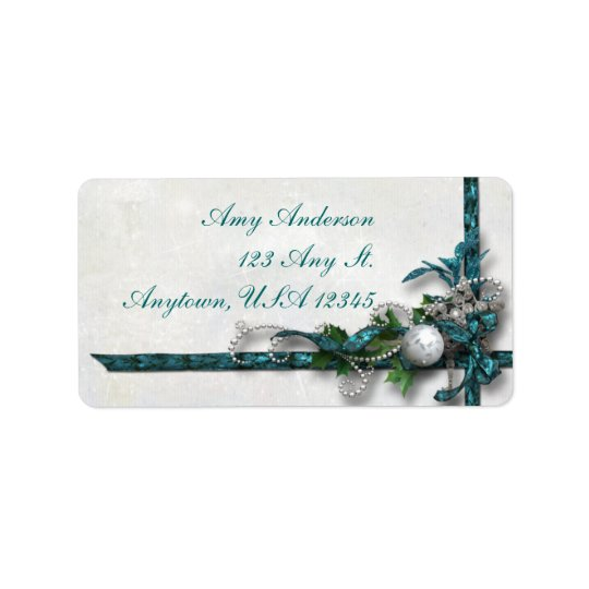 Jewelled Teal and Silver Christmas Address Labels