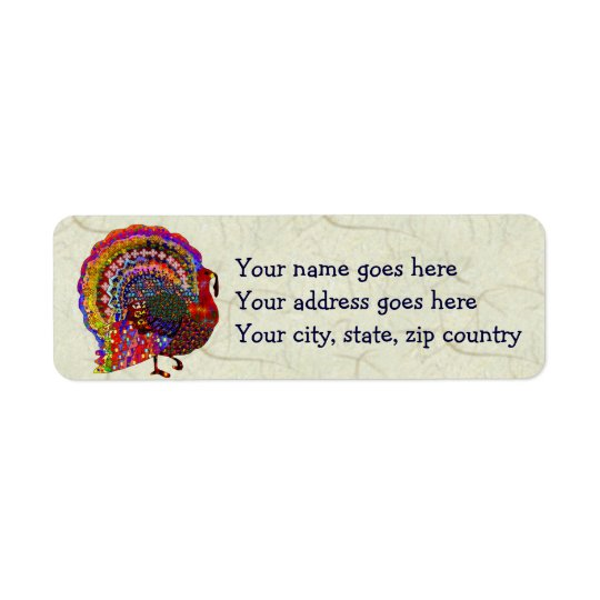 Jewelled Turkey Return Address Label