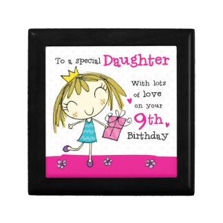 JEWELLERY BOX Daughter 9th Birthday pink princess Small Square Gift Box