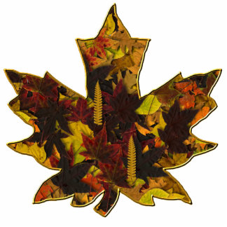 Jewellery - Pin - Autumn Leaves in Gold Photo Sculpture Badge