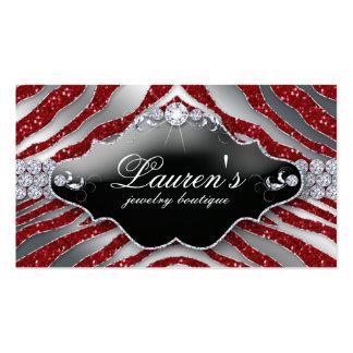 Jewellery Zebra Business Card Sparkle Red SB