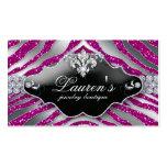 Jewellery Zebra Fleur de lis Sparkle Hot Pink Pack Of Standard Business Cards