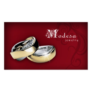 Jewelry Business Cards Engagement Rings Red
