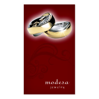 Jewelry Business Cards Engagement Rings Red V