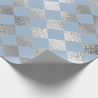 Jewelry Diamond Squares Blue Silver Vip Wrapping Paper