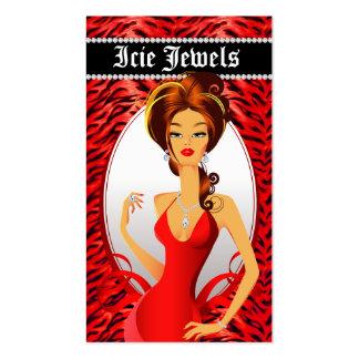 Jewelry Diamonds Red Zebra Heart Pack Of Standard Business Cards