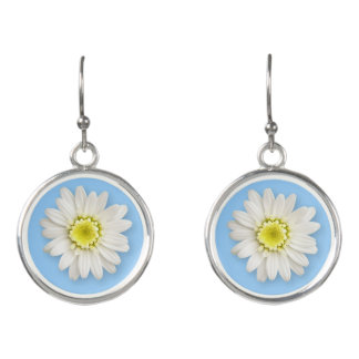 Jewelry - Earrings - Drop - Daisy On Blue