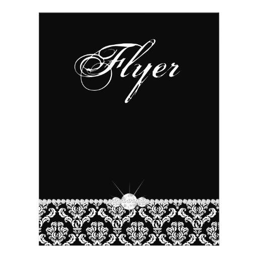 Jewelry Flyer Hair Salon Damask Black White Classy