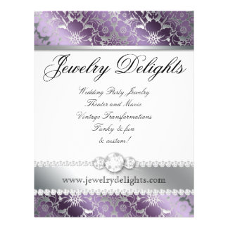 Jewelry Flyer Hair Salon Floral Damask Purple