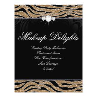 Jewelry Flyer Hair Salon Zebra Glitter Gold