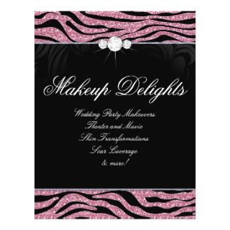 Jewelry Flyer Hair Salon Zebra Glitter Pink