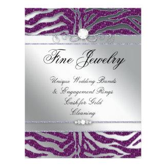 Jewelry Flyer Hair Salon Zebra Sparkle Plum Silver