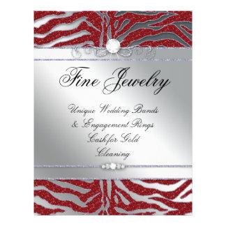 Jewelry Flyer Hair Salon Zebra Sparkle Red Silver