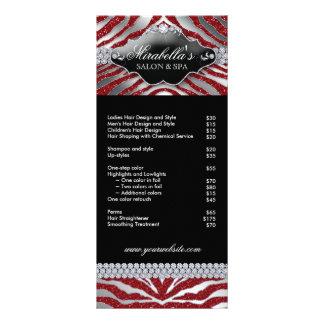 Jewelry Rack Card Zebra Luxury Sparkle Silver Red