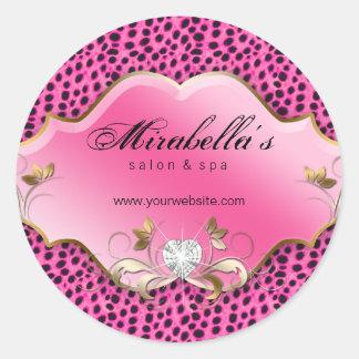 Jewelry Salon Spa Sticker Pink Black White Leopard