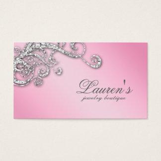 Jewelry Swirl Business Card Glitter Diamonds Pink