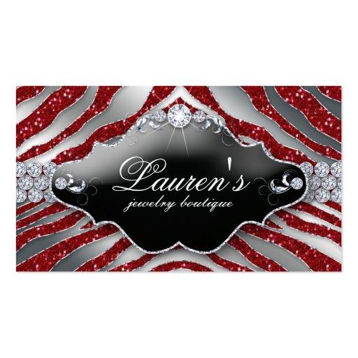 Jewelry Zebra Business Card Sparkle Red SB