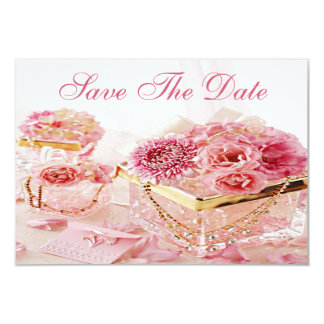 Jewels, Boxes & Pink Flowers Wedding Save the Date Custom Invite
