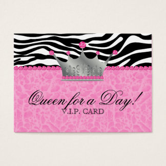 Jewels Crown Zebra leopard Lace Pink VIP Card