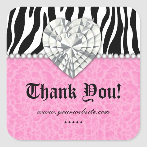 Jewels leopard Pearl Lace Heart Pink Thank You Sq Stickers