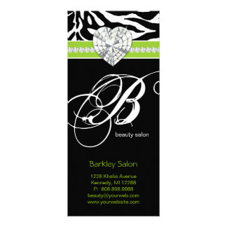 Jewels Zebra Beauty Salon Spa Lime Green Rack Card