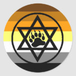 Jewish Bear Pride Flag Round Stickers