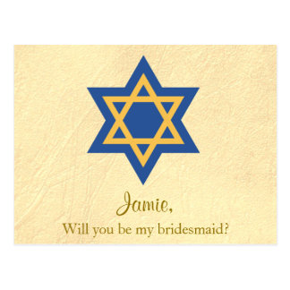 Jewish Blue and Gold Will You be My Bridesmaid Postcard