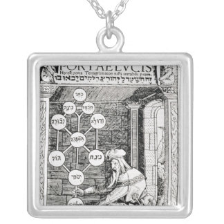 Jewish cabbalist holding a sephiroth silver plated necklace