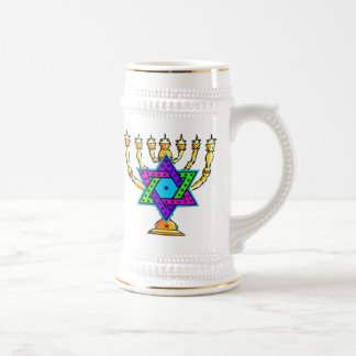 Jewish Candlesticks Beer Stein